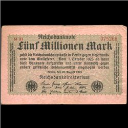1923 Germany 5m Mark Note Hi Grade (COI-3899)