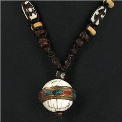 Tibet Shell Agate Bead Nickel Necklace (JEW-3261)