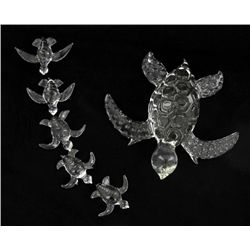 Handcrafted Glass Sea Turtle Mom & Kids (DEC-390)