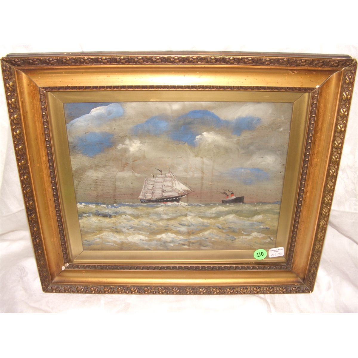 antique painting of schooner and steam ship at sea info on frame 13 12 x 15 34 art 8 12 x 11