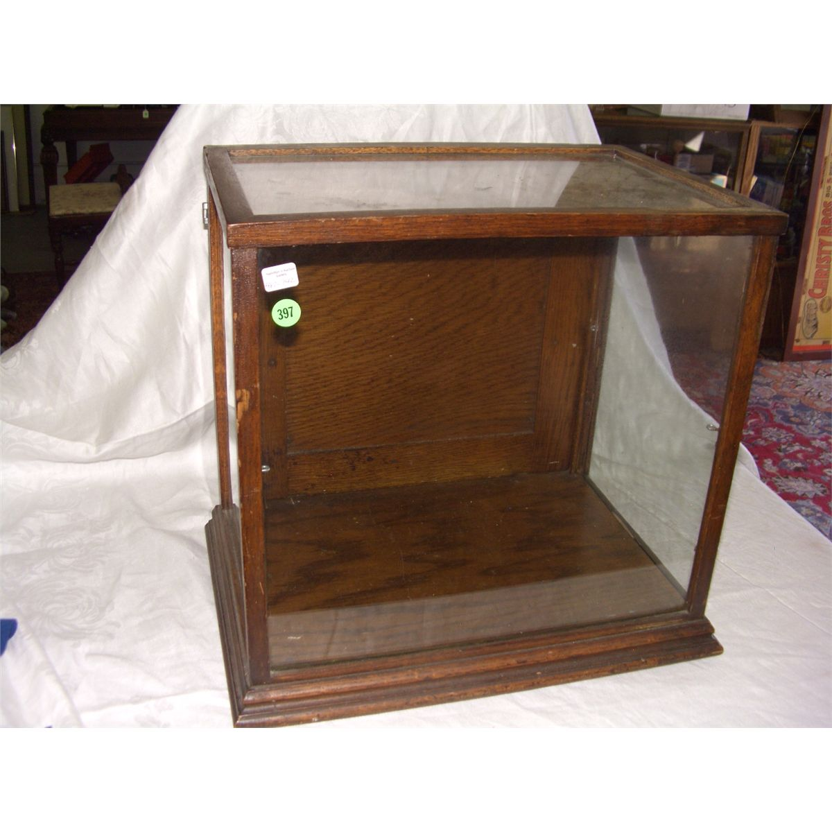 - Antique Oak Gen Store Display Cabinet / Showcase, Counter Top