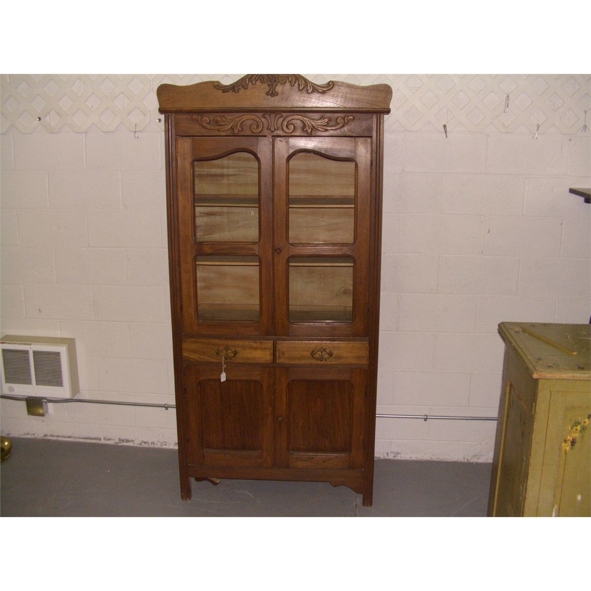 nice antique oak  kitchen cabinet with applied carving ssr  rh   icollector com