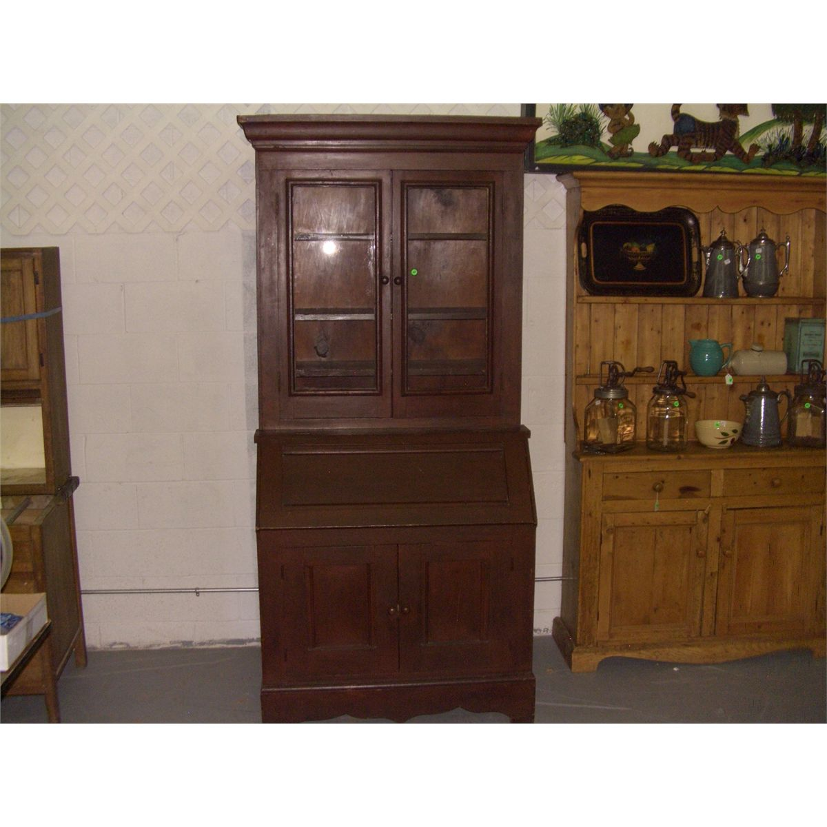 - Fabulous Antique Primitive Secretary Hutch With Lift Top Desk SSR