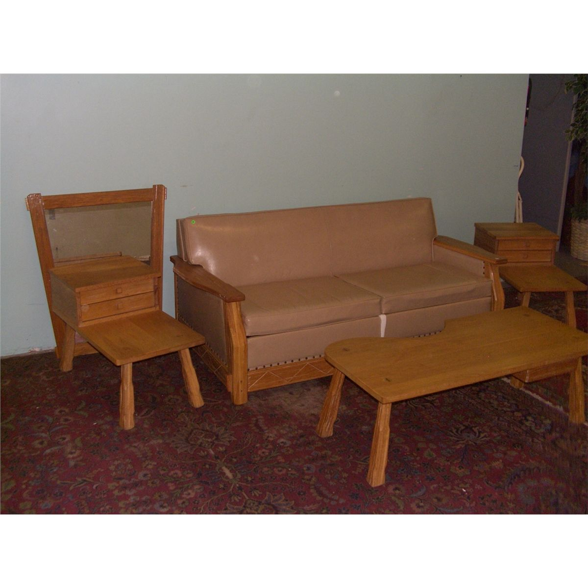 5 Piece Ranch Oak Vintage Living Room Set By A. Brandt Co, Sofa. Coffee And  2 End Tables Mirror SSR