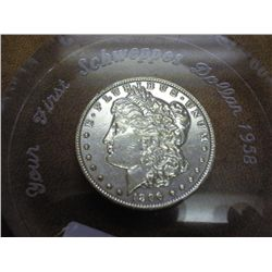 1896 MORGAN SILVER DOLLAR IN LUCITE PAPERWEIGHT