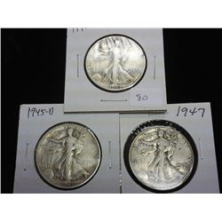 1942,45-D & 47 WALKING LIBERTY HALF DOLLARS