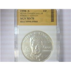 1998-S ROBERT F. KENNEDY SILVER DOLLAR SGS MS70