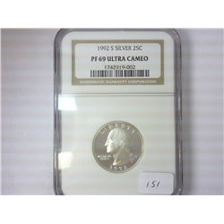 1992-S WASHINGTON SILVER QUARTER NGC PF69 ULTRACAM