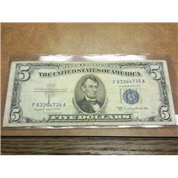 1953-B FIVE DOLLAR SILVER CERTIFICATE BLUE SEAL
