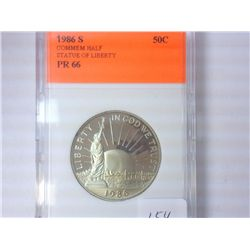 1986-S STATUE OF LIBERTY HALF DOLLAR PR66