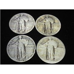 4-ASSORTED STANDING LIBERTY QUARTERS