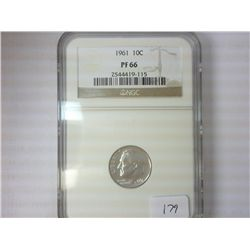 1961 SILVER ROOSEVELT DIME NGC PF66