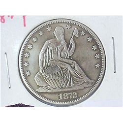 1872 SEATED LIBERTY HALF DOLLAR (EXTRA FINE)