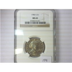 1980-S SBA DOLLAR NGC MS65