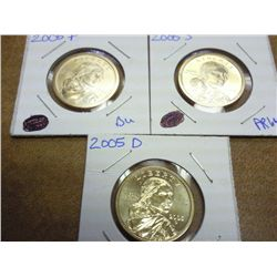 2005 P/D/S SACAGAWEA DOLLARS UNC AND PROOF