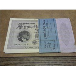 20-1923 GERMAN 100,000 MARK INFLATION NOTES