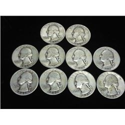 10 ASSORTED 1940'S WASHINGTON SILVER QUARTER