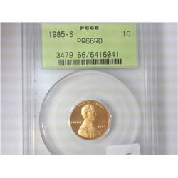 1985-S LINCOLN CENT PCGS PR66RD