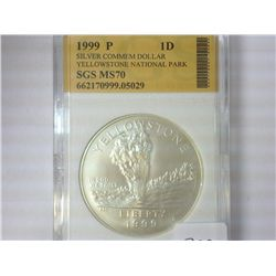 1999-P YELLOWSTONE SILVER DOLLAR SGS MS70