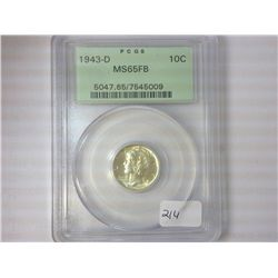 1943-D MERCURY DIME PCGS MS65 FB