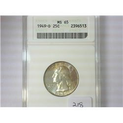 1949-D WASHINGTON SILVER QUARTER ANACS MS65