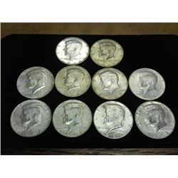 10 ASSORTED 40% SILVER KENNEDY HALF DOLLARS
