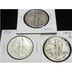 1936,39 & 41-D WALKING LIBERTY HALF DOLLARS