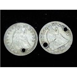 2 (HOLED) SEATED LIBERTY DIMES