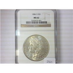1886-S MORGAN SILVER DOLLAR NGC MS62