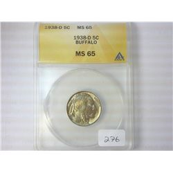 1938-D BUFFALO NICKEL ANACS MS65