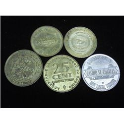 5-ASSORTED CASINO TOKENS