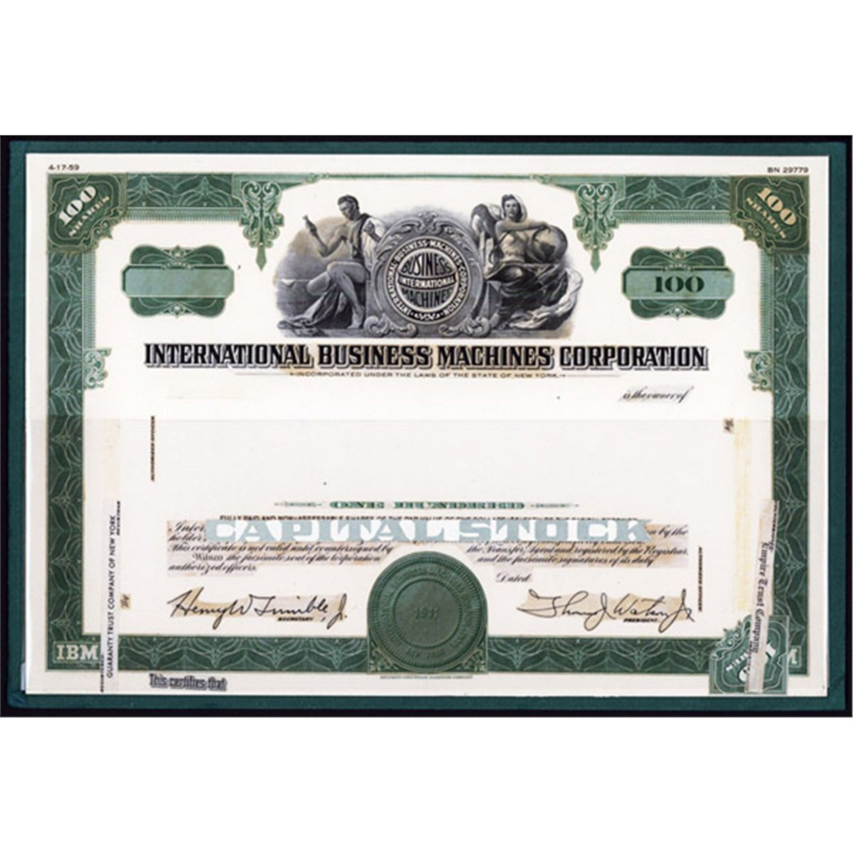 international business machines ibm proof model of original international business machines ibm proof model of original 1959 stock certificate design loading zoom