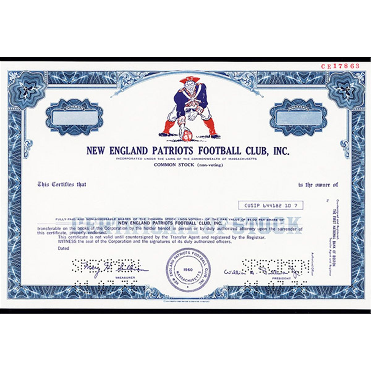 New england patriots football club inc specimen stock certificate xflitez Choice Image