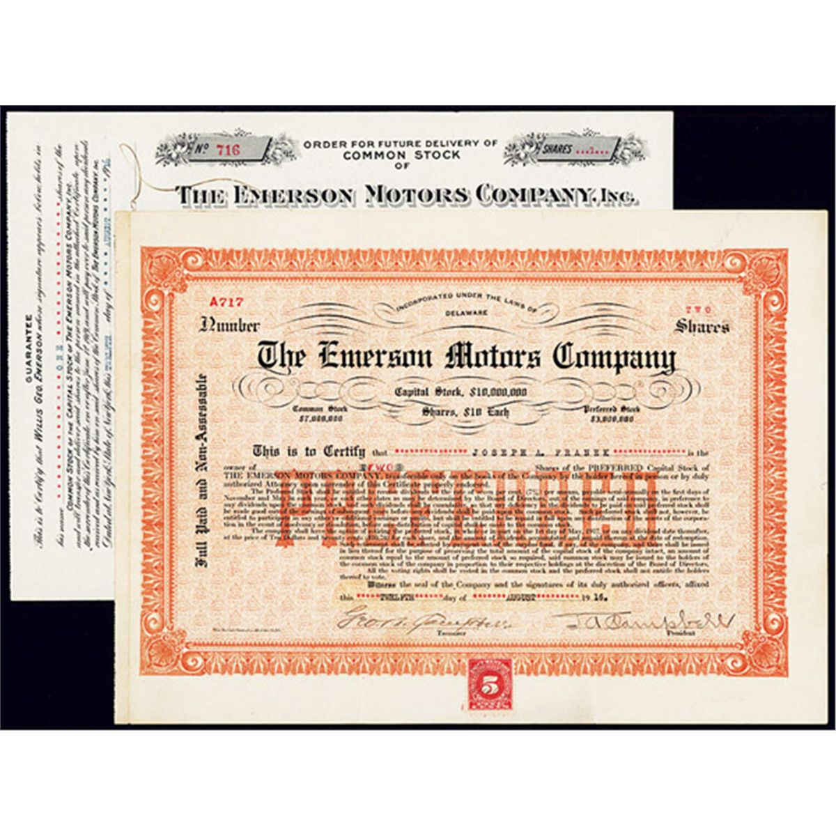 Emerson Motors Company Stock Certificate Pair Archives