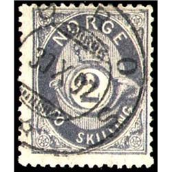 Norway   1872 2s Gray Blue Numeral with cds c