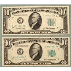 2 CU 1950 $10 Bills Notes-Differnt Treasurer/ Secretary