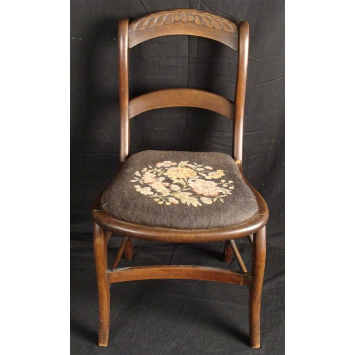 - Antique Walnut Victorian Chair -Needlepoint Seat 1860