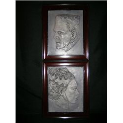 Framed Relief Portraits of Frankenstein's Monster and the Bride of Frankenstein
