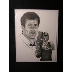 Sylvester Stallone Signed Drawing