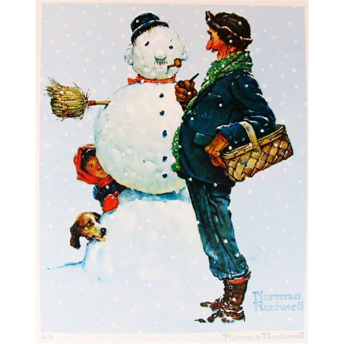 SNOW SCULPTING NORMAN ROCKWELL SNOWMAN ART