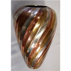 Copper Silver Brass Swirl Metal Vase
