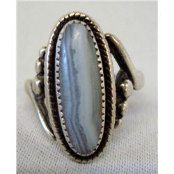 Navajo Sterling Silver Agate Ring