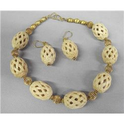 Indian Stained Ivory Necklace & Earrings