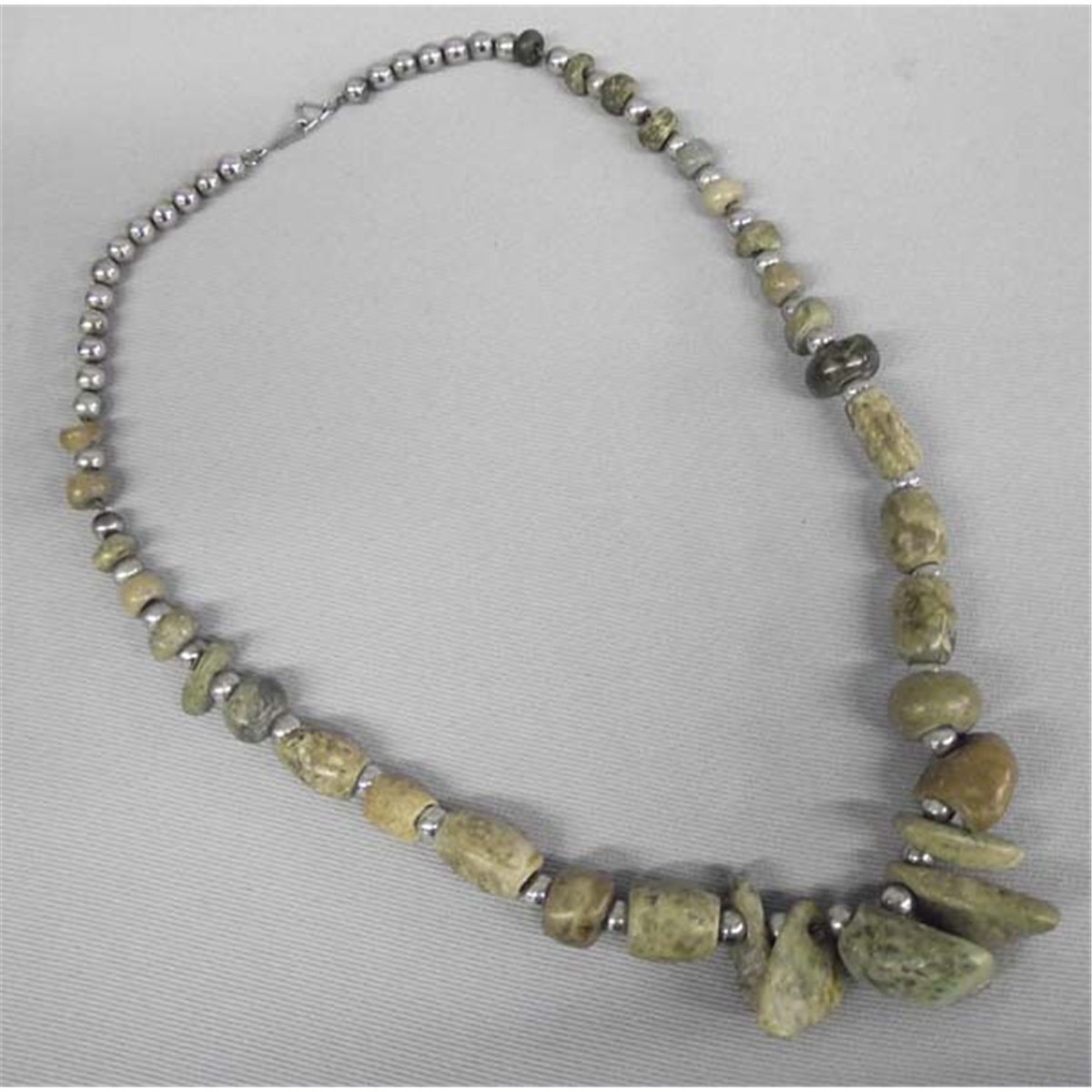 Pre-Columbian Style Stone & Silver Bead Necklace
