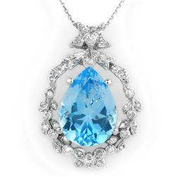 Genuine 13.84ctw Blue Topaz & Diamond Necklace 14K Gold