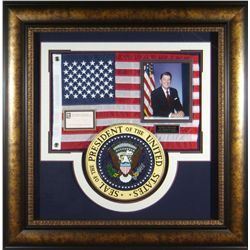 Historical: RONALD REAGAN:Ronald Reagan signed presidential collage with flag and seal.  The Ronald