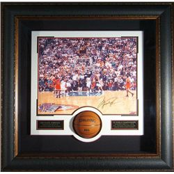 "Sports: MICHAEL JORDAN: Michael Jordan signed 16x20 photograph with mini basketball.  ""The Shot"" is"