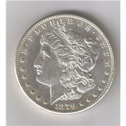 1879-S 2nd REVERSE  BRIGHT UNCIRCULATED PROOF LIKE DEEP MIRROW REVERSE MORGAN SILVER DOLLAR WITH MIN