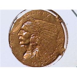 1912 $2 1/2 Gold Indian XF40 Ex-Jewelry