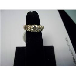 1 Carat Round Center Stone Plus Diamonds in Band, 14K Gold